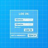 Vector login form on blueprint background
