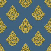 Flourish seamless pattern with bells inflorescences