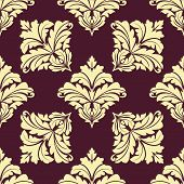 Seamless pattern in damask style with leaves tracery