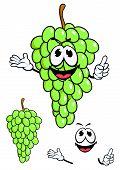 Juicy green grape fruit in cartoon style