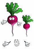 Happy smiling beet vegetable in cartoon style
