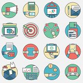 Outline Set Of Modern Vector Icons And Symbols Of Business Management Or Analytics And E-commerce Th
