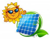 picture of solar battery  - Solar energy panel bordered green stem with leaves and smiling sun in sunglasses in cartoon style - JPG