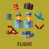 Flat air traveling infographic with text Flight