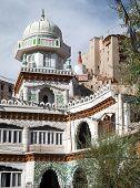 Jama Masjid And Leh Palace With Stupa On The Background
