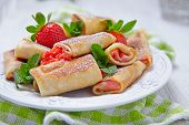 Fresh Strawberry French Crepes with Mint for Breakfast
