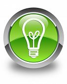 Light Bulb Icon Glossy Green Round Button