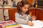 Young Girl Writes With Pencil Her Homework In The Kitchen