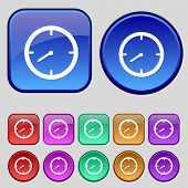 Timer Sign Icon. Stopwatch Symbol. Set Of Colourful Buttons. Vector