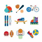 Set Of Vector Colorful Sports Icons In Flat Style