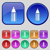 Pencil Sign Icon. Edit Content Button. Set Of Colored Buttons. Vector