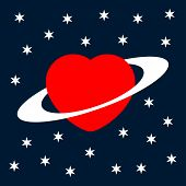 Valentine's Greeting Card  Heart As A Planet