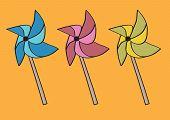 Handheld Paper Windmill On Sticks Or Pinwheel Origami Vector Illustration