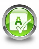 Spell Check Icon Glossy Green Round Button