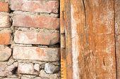 Brick Wood and Metal Door Frame