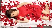 Valentines beauty girl with red roses studio