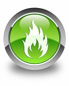 Fire Icon Glossy Green Round Button