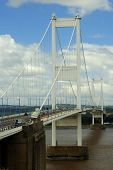 picture of chepstow  - The suspension bridge over the River Severn - JPG