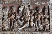Buddha Life Scenes At Ajanta, Famous Cave Temple Complex Of Southern India