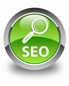 Seo (magnifying Glass Icon) Glossy Green Round Button