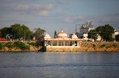 Buddha temple at lake Hussain sagar in Hyderabad, India