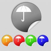 Umbrella Sign Icon. Rain Protection Symbol. Set Colourful Buttons. Vector