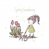 spring gardening theme, girl with rake