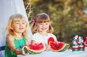 Two little girlfriends in the summer at the cottage after harvest watermelons.
