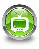 Tv Icon Glossy Green Round Button