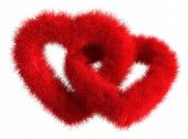Two Joined Red Plush Hearts On White Background - Isolated 3D Render