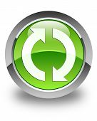 Update Icon Glossy Green Round Button