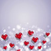 Red Hearts Valentine Holiday Card