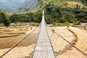 Rope Hanging Suspension Bridge In Nepal With Paddyfield And Tourist