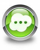 Brain Icon Glossy Green Round Button