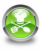 Chef Icon Glossy Green Round Button