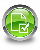 Survey Icon Glossy Green Round Button