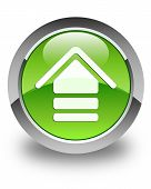 Upload Icon Glossy Green Round Button