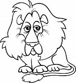 Lion Animal Cartoon Coloring Page