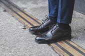 Detail Of Shoes Outside Ferragamo Fashion Show Building For Milan Men's Fashion Week 2015