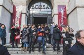People Outside Ferragamo Fashion Show Building For Milan Men's Fashion Week 2015