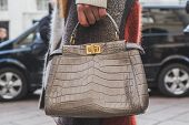 Detail Of A Bag Outside Ferragamo Fashion Show Building For Milan Men's Fashion Week 2015
