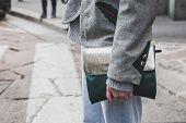 Detail Of A Bag Outside Ferragamo Fashion Show Building For Milan Men's Fashion Week 2015