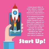 Cellphone In Hand With Spaceship. Start Up Vector Concept.