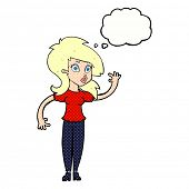 cartoon pretty blond woman waving