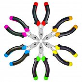 Colorful pliers set isolated on white background.