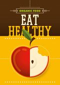 Organic food poster design. Vector illustration.