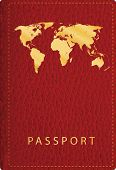 picture of passport cover  - vector red leather passport cover - JPG