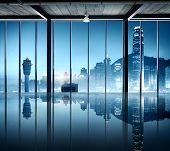 Airport Cityscape Buildings Watch Tower Interior Room Concept