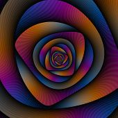 Spiral Labyrinth In Blue Orange And Pink