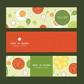 Vector fresh salad horizontal banners set pattern background